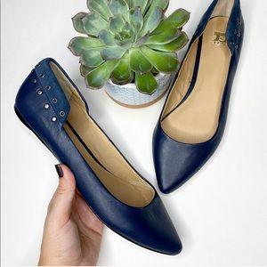 Joe's // Pointed Toe Blue Studded Flats